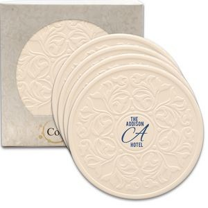 "Victorian Lace CoasterStone Absorbent Stone Coaster - 4 Pack (4 1/4"")"
