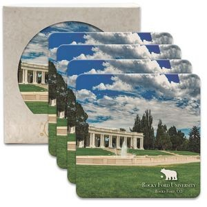 "CoasterStone Square Absorbent Stone Coaster - 4 Pack (4 1/4""x4 1/4"")"