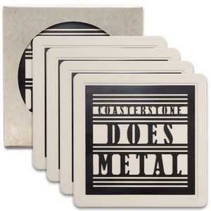 Metal Insert Absorbent Coasters - 4 Pack