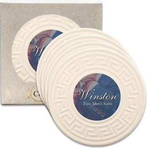 "Greek Key CoasterStone Absorbent Stone Coaster - 4 Pack (4 1/4"")"